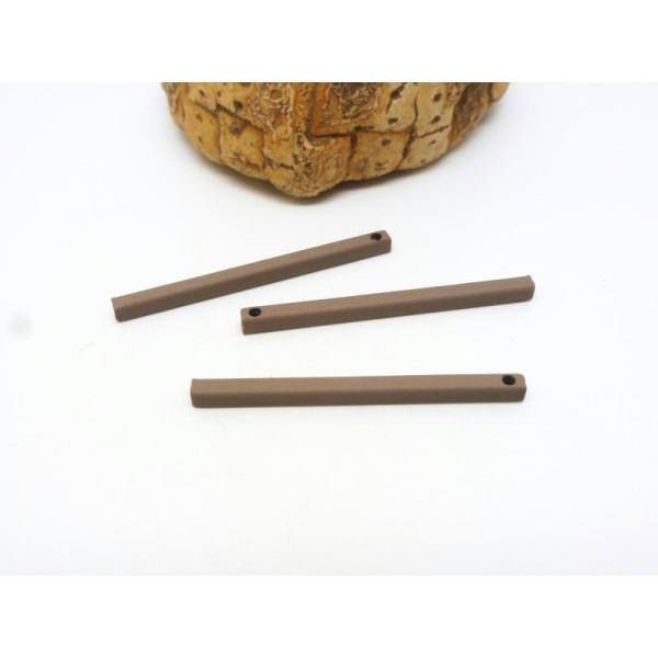 3 Breloques rectangle, barre, breloques géométriques - 30*2mm - marron - Photo n°1