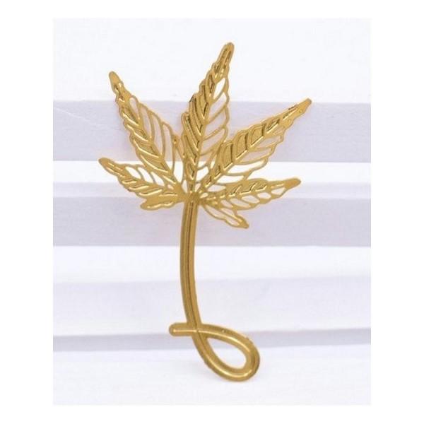 4 Marque pages feuilles d'arbres et fleur, signets en métal - Photo n°3