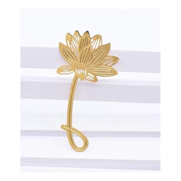 4 Marque pages feuilles d'arbres et fleur, signets en métal - Photo n°4