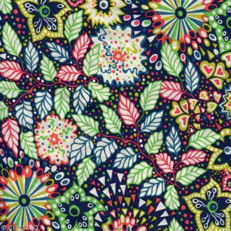 Tissu Liberty Dominic Vert et orange - 4277 D - Par 10 cm (sur mesure)