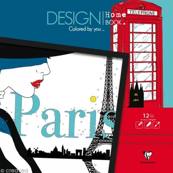 Bloc coloriage adulte Clairefontaine - Design home book - Villes - 30 x 30 cm - Photo n°1