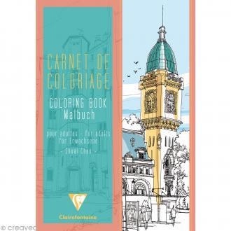 Carnet de coloriage Villes pour adulte - 24 pages - 21 x 29,7 cm