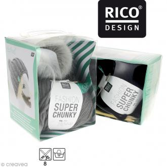 Kit Rico Design - Fashion super chunky - Bonnet à pompon jersey
