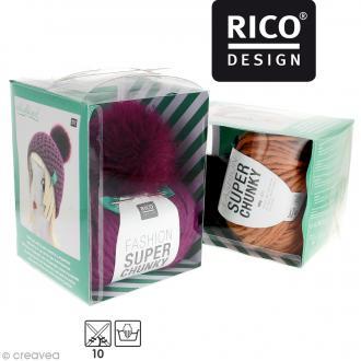 Kit Rico Design - Fashion super chunky - Bonnet à pompon au crochet