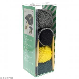 Kit Rico Design - Wild wild wool - Bonnet à motifs - Vert sapin