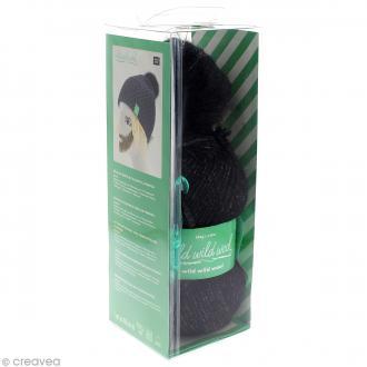 Kit Rico Design - Wild wild wool - Bonnet uni à pompon au crochet - Noir