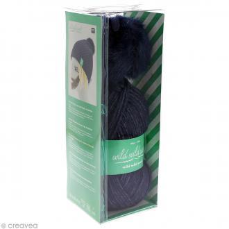 Kit Rico Design - Wild wild wool - Bonnet uni à pompon au crochet - Bleu marine
