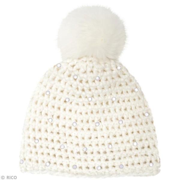 Kit Rico Design - Wild wild wool - Bonnet à strass - Blanc crème - Photo n°2