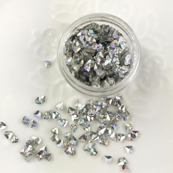 Paillettes Forme Diamant Argenté Pour Inclusion Résine Création