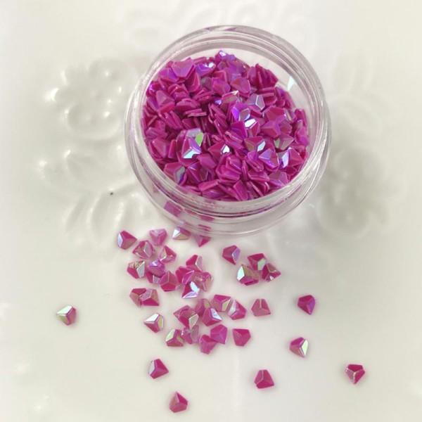 Paillettes Forme Diamant Fuschia Pour Inclusion Résine Création