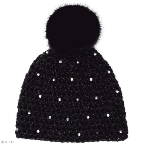 Kit Rico Design - Wild wild wool - Bonnet à strass - Noir - Photo n°2