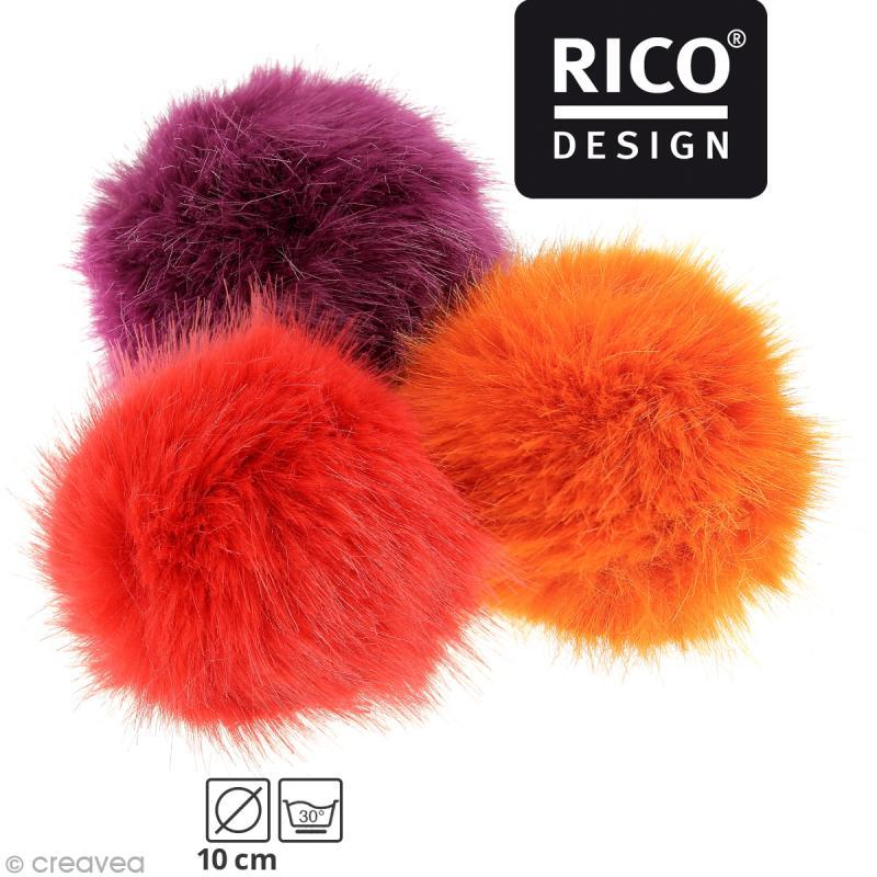 meilleure sélection 3e5b1 4dd36 Pompon fausse fourrure Rico Design 10 cm - Pompon fourrure - Creavea