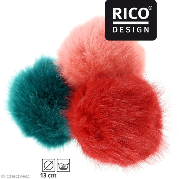 Pompon fausse fourrure Rico Design 13 cm - Photo n°1