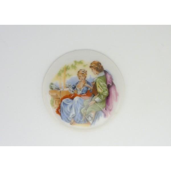 Cabochon Rond En Porcelaine Vintage Romantisme A 42.3mm - Photo n°2