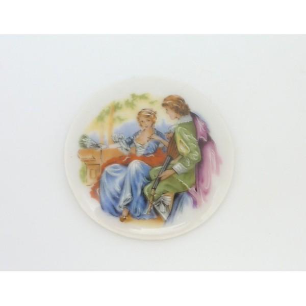 Cabochon Rond En Porcelaine Vintage Romantisme A 42.3mm - Photo n°1