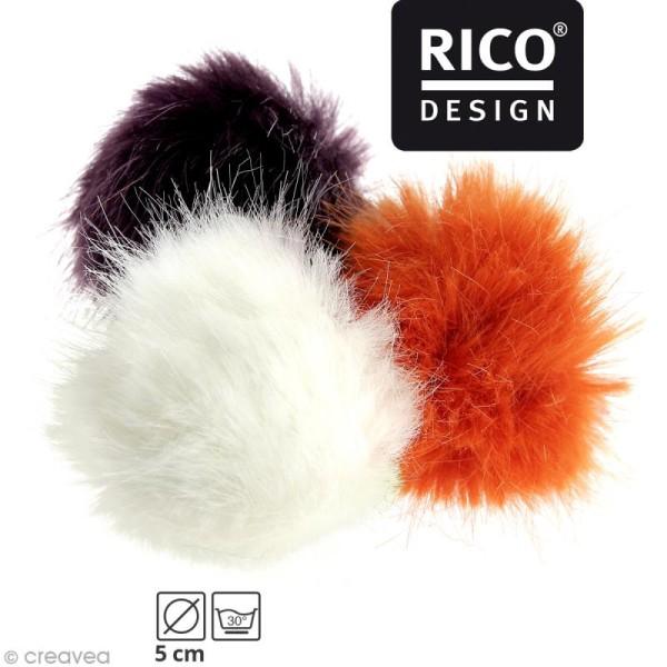 Pompon fausse fourrure Rico Design 5 cm - Photo n°1