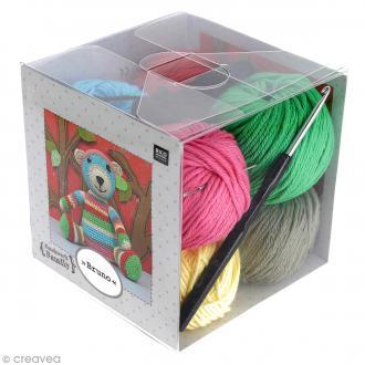 Kit crochet doudou - Patchwork family - Bruno l'ourson
