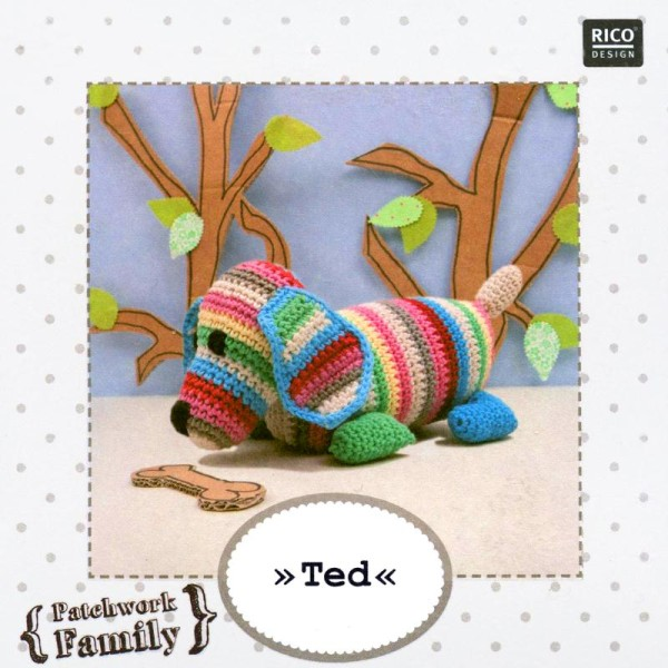 Kit crochet doudou - Patchwork family - Ted le chien - Photo n°2