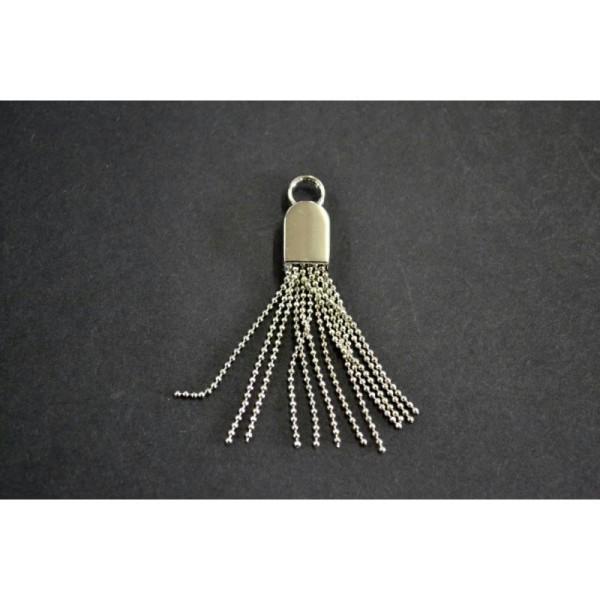 Fermeture maille brossée séparable argentée:(Maille fine 3.5mm) 10cm - Photo n°1
