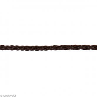 Cordon tressé simili cuir - Marron - 3 mm x 1 m
