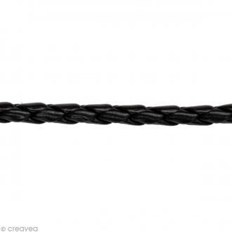 Cordon tressé simili cuir - Noir - 4 mm x 1 m