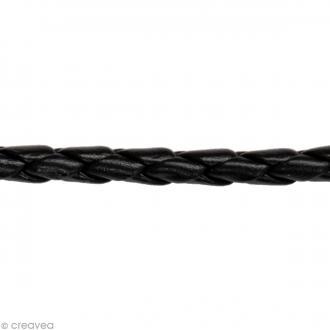 Cordon tressé simili cuir - Noir - 5 mm x 1 m