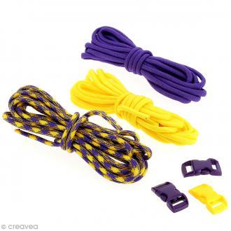 Kit Paracord - Violet & jaune - 3 m x 4 mm
