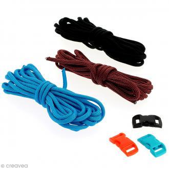 Kit Paracord - Noir, bleu & rouge - 3 m x 4 mm