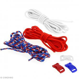 Kit Paracord - Bleu, blanc & rouge - 3 m x 4 mm