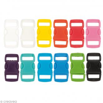 Fermoir à clip plastique - Multicolore - 1 cm - 12 pcs
