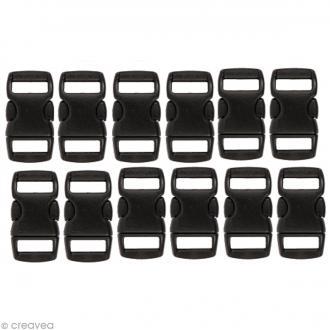 Fermoir à clip plastique - Noir - 1 cm - 12 pcs