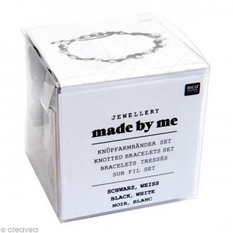 Kit bracelet tressé - Noir & blanc - 3 pcs