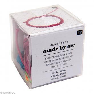 Kit bracelet tressé - Violet & rose fuchsia - 3 pcs
