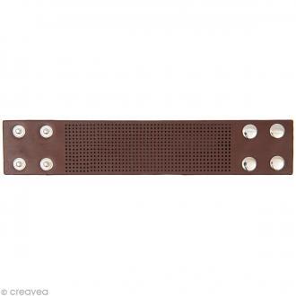 Bracelet à broder - Marron - 23,5 x 4,5 cm