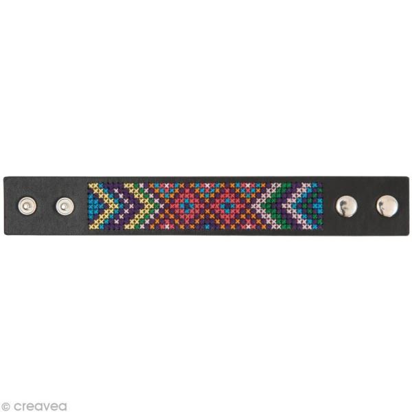 Kit bracelet à broder Noir - Graphique - 23 x 3 cm - Photo n°2