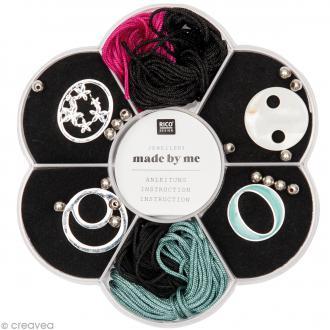 Kit bracelet macramé - Noir, rose fuchsia & vert d'eau - 4 bracelets