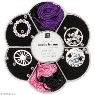 Kit bracelet macramé - Noir, rose & violet - 4 bracelets