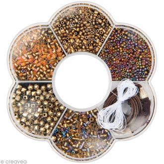 Kit collier perles de rocaille - Doré - 1 pc