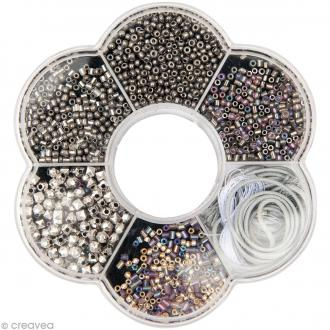 Kit collier perles de rocaille - Argenté - 1 pc