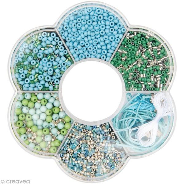 Kit collier perles de rocaille - Bleu turquoise - 1 pc - Photo n°1