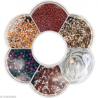 Kit collier perles de rocaille - Marron & orange - 1 pc