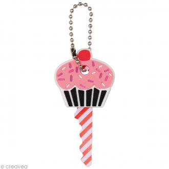 Couvre clé - Cupcake - rose - 3,4 x 3,3 cm