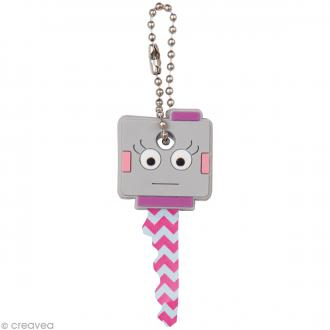 Couvre clé - Robot fille - gris et rose - 2,6 x 2,9 cm