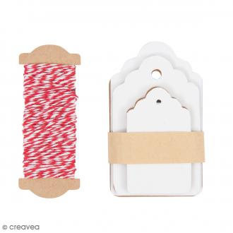 Kit étiquette cadeau - Ornement - Blanc - 30 pcs