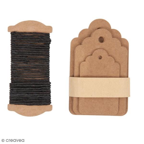 Kit étiquette cadeau - Ornement - Kraft - 30 pcs - Photo n°1