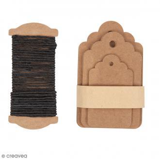 Kit étiquette cadeau - Ornement - Kraft - 30 pcs