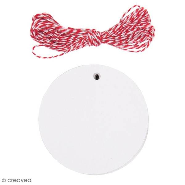 Kit étiquette cadeau - Rond - Blanc - 20 pcs - Photo n°1
