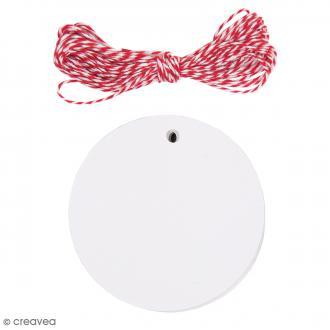 Kit étiquette cadeau - Rond - Blanc - 20 pcs