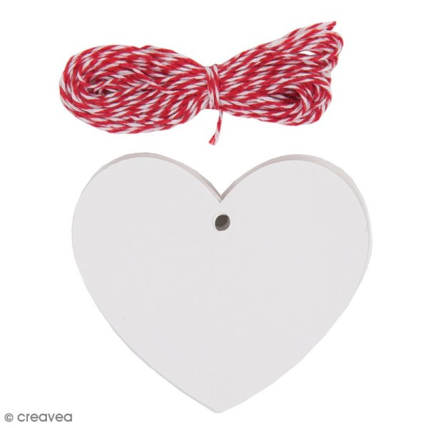 Kit étiquette cadeau - Coeur - Blanc - 20 pcs - Photo n°1