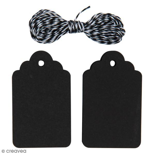 Kit étiquette cadeau - Ornement - Noir - 20 pcs - Photo n°1
